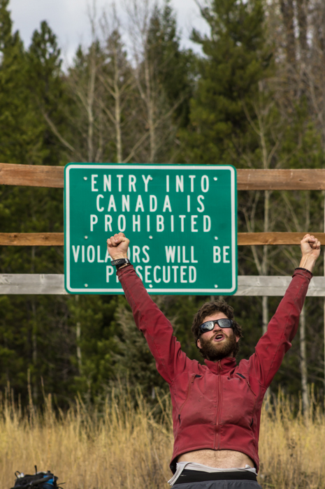 Dave Celebrating a Month of Pedaling on the Canadian Border