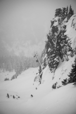 Grete Skiing through the Fog in the Alpental Backcountry