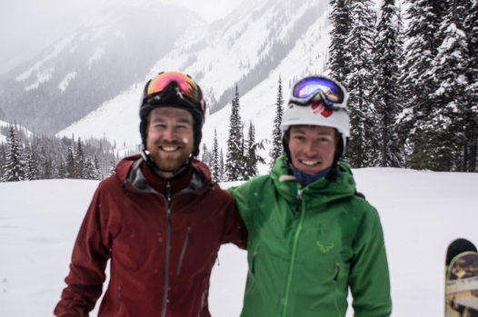 STOKED at lunch with Selkirk Tangiers (taken by the awesome posse of Boston Dads we skied with)