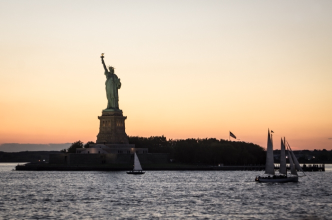 Sunset Overcomes the Statue of Liberty from the Staten Island Ferry