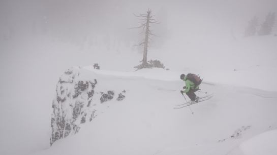 Jesse Dudley dropping into the fog