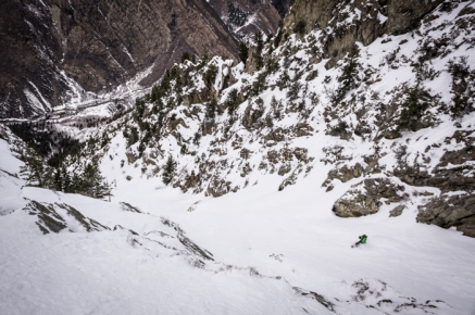 Jay Bohlin Ripping Down the Powerhouse Couloir