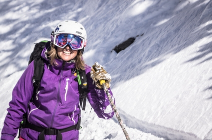 Heidi Gilbert STOKED after some freshies in the Hallway Couloir
