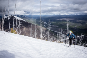 Justin Coaxing the Baby-skis Up Above the North Fork