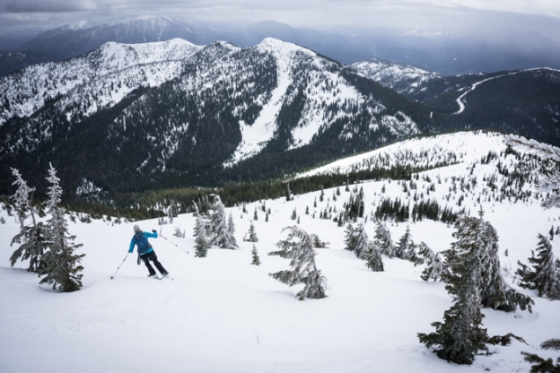 Grete Arcing her Baby-skis Down our Longest Ski of the Day