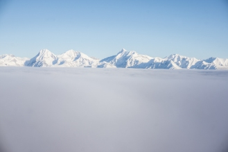 The Lewis Range of Glacier National Park Peaking Out Above the Inversion