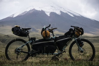 International Tandem Bikepacking Rig - Comotion Java in front of Cotopaxi